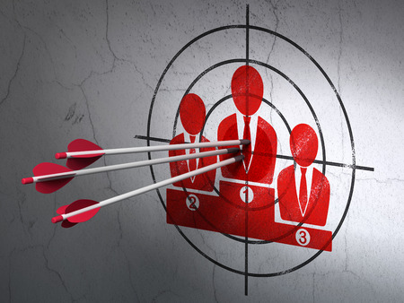 Success marketing concept: arrows hitting the center of Red Business Team target on wall background, 3d render photo