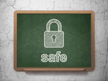 Protection concept: Closed Padlock icon and text Safe on Green chalkboard on grunge wall background, 3d render photo