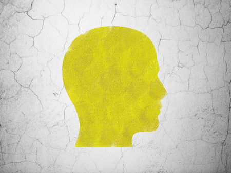 Advertising concept: Yellow Head on textured concrete wall background, 3d render photo