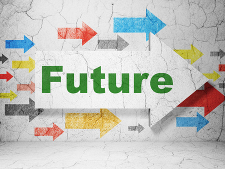 urban planning: Timeline concept:  arrow with Future on grunge textured concrete wall background, 3d render