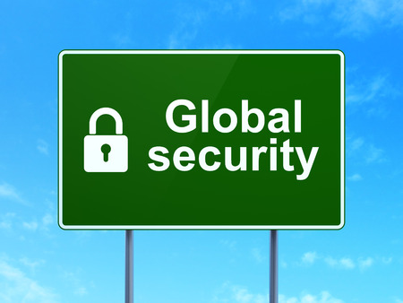 Safety concept: Global Security and Closed Padlock icon on green road (highway) sign, clear blue sky background, 3d render photo