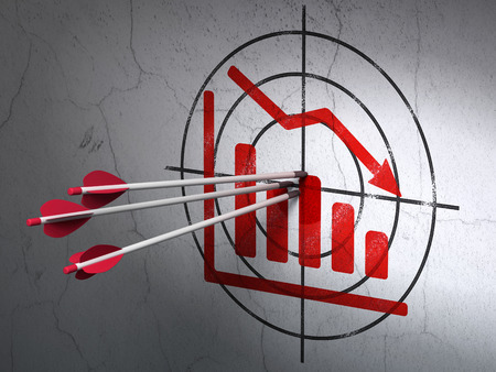 Success news concept: arrows hitting the center of Red Decline Graph target on wall background, 3d render photo
