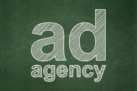 Advertising concept: text Ad Agency on Green chalkboard background, 3d render photo