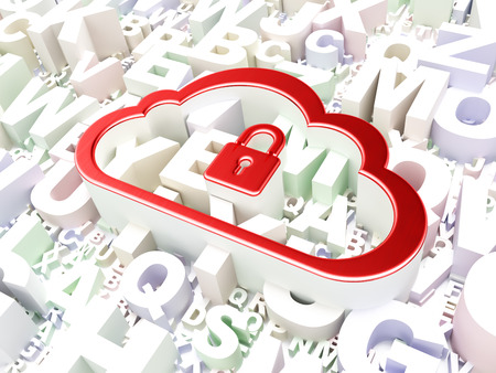 Cloud computing concept: Cloud With Padlock on alphabet background, 3d render photo