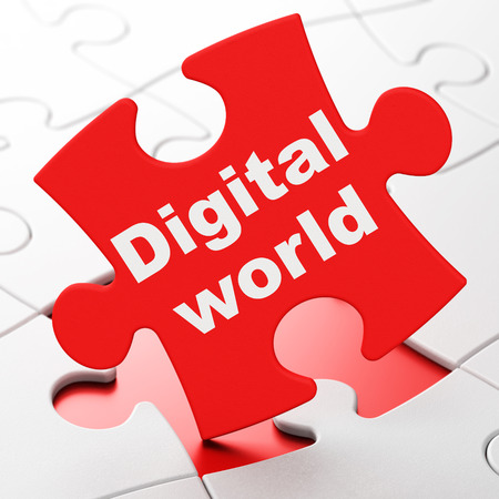 Data concept: Digital World on Red puzzle pieces background, 3d render photo