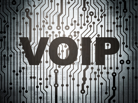 Web design concept: circuit board with  word VOIP, 3d render photo