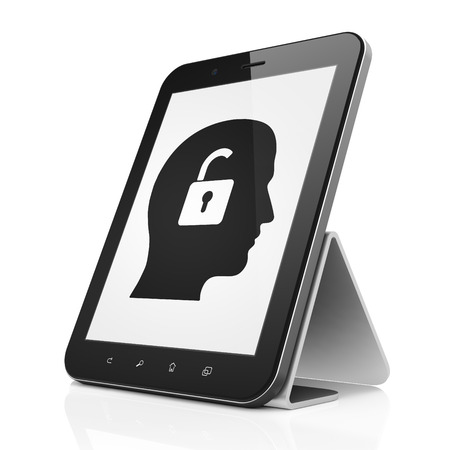 Business concept: black tablet pc computer with Head With Padlock icon on display. Modern portable touch pad on White background, 3d render photo