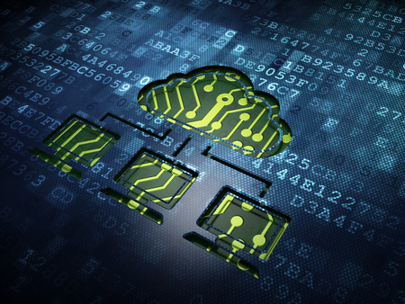 Cloud networking concept: digital screen with icon Cloud Network, 3d render photo