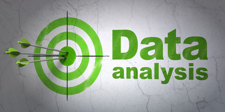Success Data concept: arrows hitting the center of target, Green Data Analysis on wall background, 3d render Stock Photo