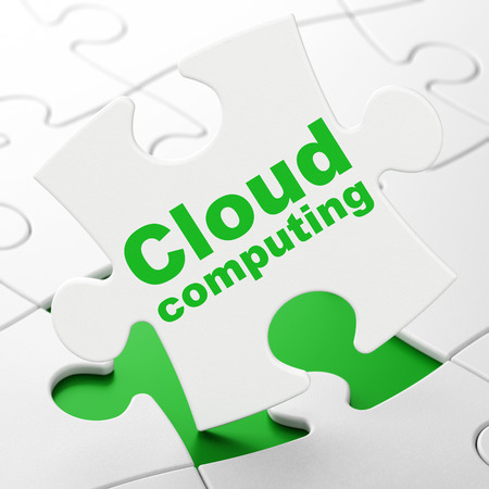 Cloud networking concept: Cloud Computing on White puzzle pieces background, 3d render photo