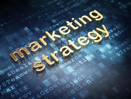 Advertising concept: Golden Marketing Strategy on digital background, 3d render photo