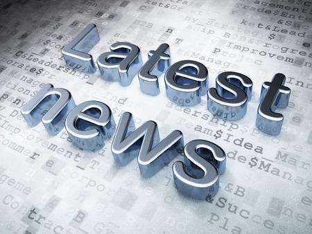 News concept: Silver Latest News on digital background, 3d render photo