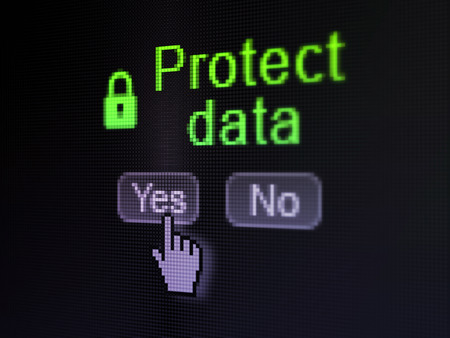 Security concept: buttons yes and no with pixelated Closed Padlock icon, word Protect Data and Hand cursor on digital computer screen, selected focus 3d render photo