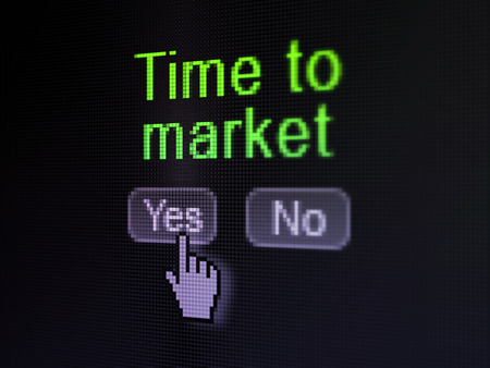 Time concept: buttons yes and no with pixelated word Time to Market and Hand cursor on digital computer screen, selected focus 3d render photo