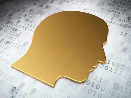 Information concept: Golden Head on digital background, 3d render photo