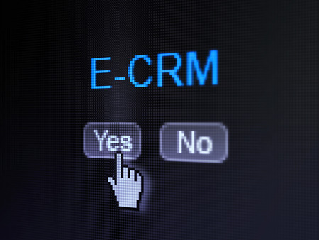 ecrm: Finance concept: buttons yes and no with pixelated word E-CRM and Hand cursor on digital computer screen, selected focus 3d render Stock Photo