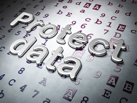 hexadecimal: Privacy concept:  Protect Data on Hexadecimal Code background, 3d render