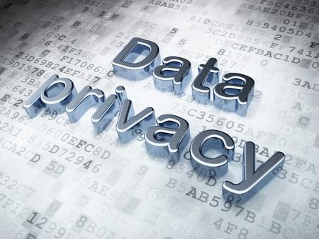 安全コンセプト: デジタル背景、3 d のレンダリングに銀のデータのプライバシー 写真素材