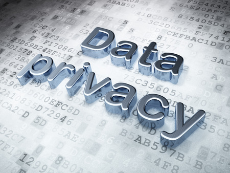 Safety concept: Silver Data Privacy on digital background, 3d render