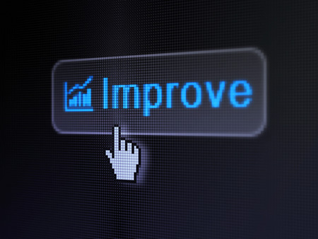 Business concept: pixelated words Improve and Growth Graph icon on button withHand cursor on digital computer screen background, selected focus 3d render photo