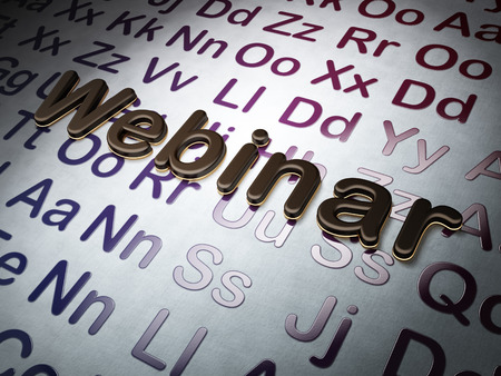Education concept:  Webinar on Alphabet background, 3d render photo