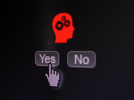 Advertising concept: buttons yes and no with pixelated Head With Gears icon and Hand cursor on digital computer screen, selected focus 3d render photo