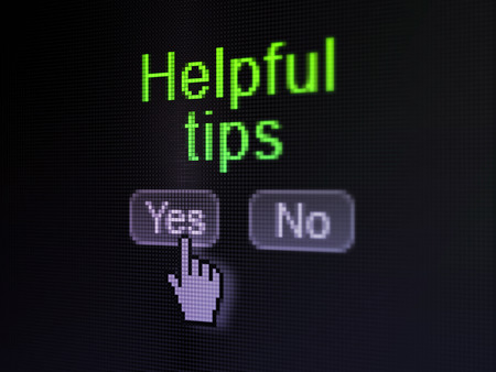 Education concept: buttons yes and no with pixelated word Helpful Tips and Hand cursor on digital computer screen, selected focus 3d render photo