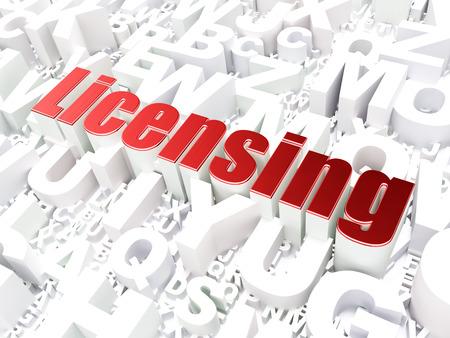 licensing: Law concept: Licensing on alphabet  background, 3d render
