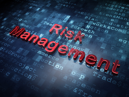Finance concept: Red Risk Management on digital , 3d render photo