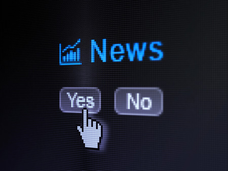 News concept: buttons yes and no with pixelated Growth Graph icon, word News and Hand cursor on digital computer screen, selected focus 3d render photo