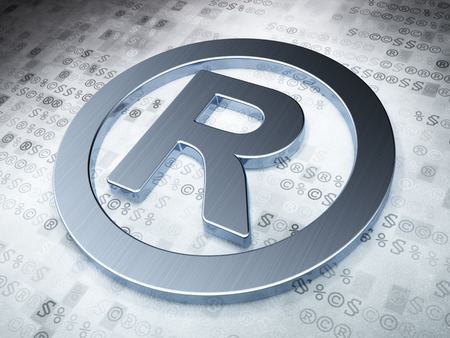 r regulation: Law concept: Silver Registered on digital , 3d render Stock Photo
