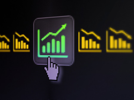 Business concept: pixelated Graph icon on button with Hand cursor on digital computer screen, selected focus 3d render photo