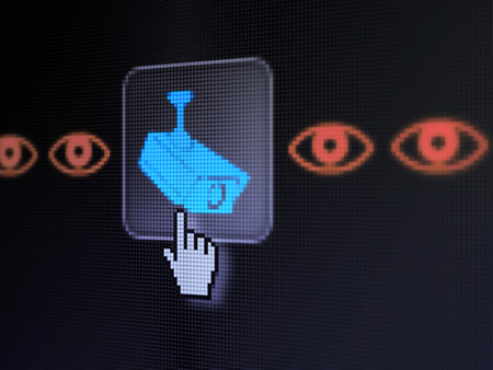 Protection concept: pixelated Camera And Eye icon on button with Hand cursor on digital computer screen, selected focus 3d render photo