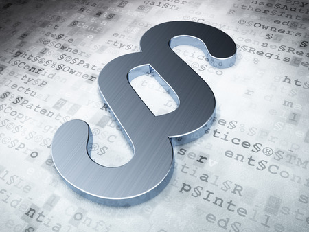 法の概念: 銀の段落、デジタル 3 d のレンダリング
