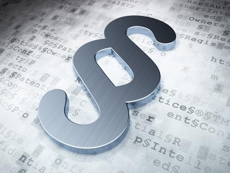 Law concept: Zilveren Paragraaf op digitaal, 3D render Stockfoto - 26121967