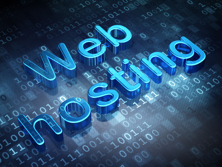 Web design concept: Blue Web Hosting on digital , 3d render photo