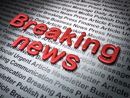 breaking news: News concept:  Breaking News on News , 3d render