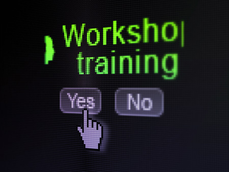 Education concept: buttons yes and no with pixelated Head With Keyhole icon, word Workshop Training and Hand cursor on digital computer screen, selected focus 3d render photo
