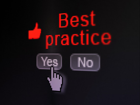 best practice: Education concept: buttons yes and no with pixelated Thumb Up icon, word Best Practice and Hand cursor on digital computer screen, selected focus 3d render