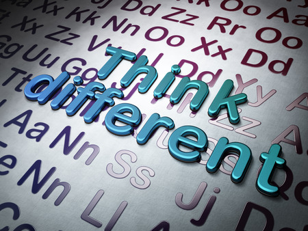 Education concept:  Think Different on Alphabet background, 3d render photo
