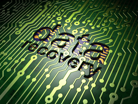 data recovery: Information concept: circuit board with word Data Recovery, 3d render Stock Photo