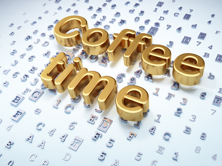 Time concept: Golden Coffee Time on digital background, 3d render photo