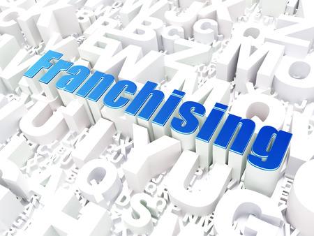 franchising: Business concept: Franchising on alphabet  background, 3d render