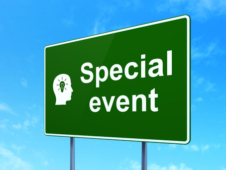Business concept: Special Event and Head With Light Bulb icon on green road (highway) sign, clear blue sky background, 3d render photo