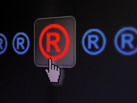 r regulation: Law concept: pixelated Registered icon on button with Hand cursor on digital computer screen, selected focus 3d render