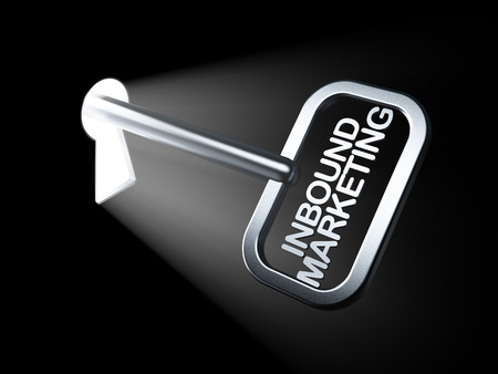Business concept: Inbound Marketing on key in keyhole, 3d render photo