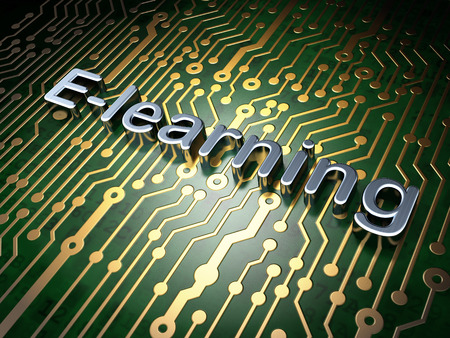 elearn: Education concept: circuit board with word E-learning, 3d render