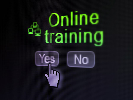 Education concept: buttons yes and no with pixelated Lan Computer Network icon, word Online Training and Hand cursor on digital computer screen, selected focus 3d render photo