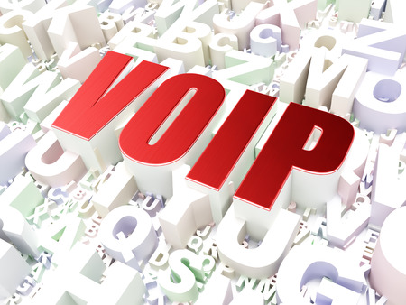 Web development concept: VOIP on alphabet  background, 3d render photo