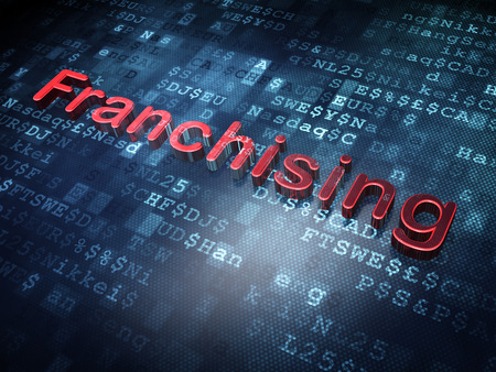 franchising: Finance concept: Red Franchising on digital background, 3d render Stock Photo
